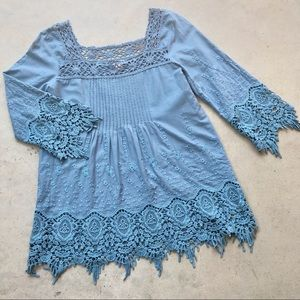 Sundance Cotton Crochet Embroidered Blouse sz S